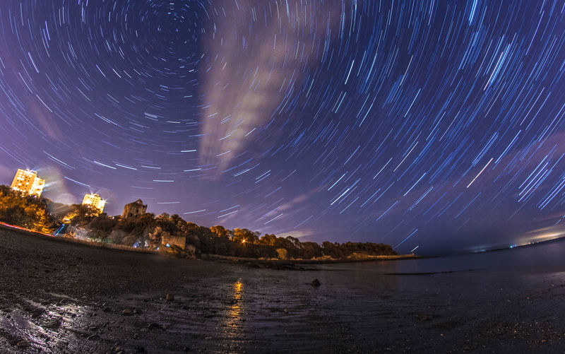 Star trail next to Revenscraig castle in Kirkcaldy, Scotland. Astronomy Beauty In Nature Canon Canonphotography Galaxy Long Exposure Motion Nature Night Night Photography Nightphotography No People Outdoors Sky Star - Space Star Trail Star Trails Stars