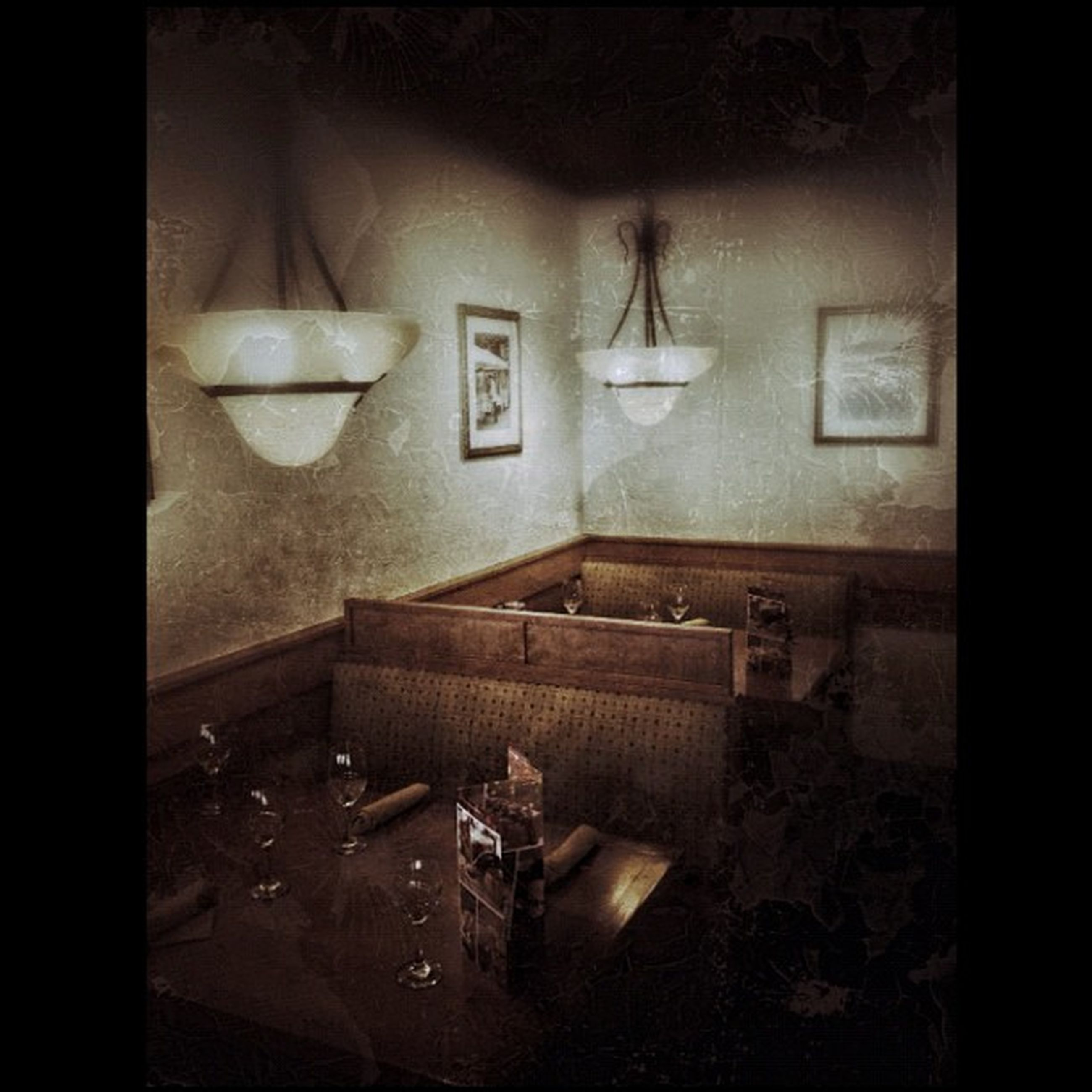 indoors, illuminated, home interior, table, chair, auto post production filter, transfer print, lighting equipment, absence, wall - building feature, dark, window, house, empty, electric lamp, room, interior, domestic room, night, no people