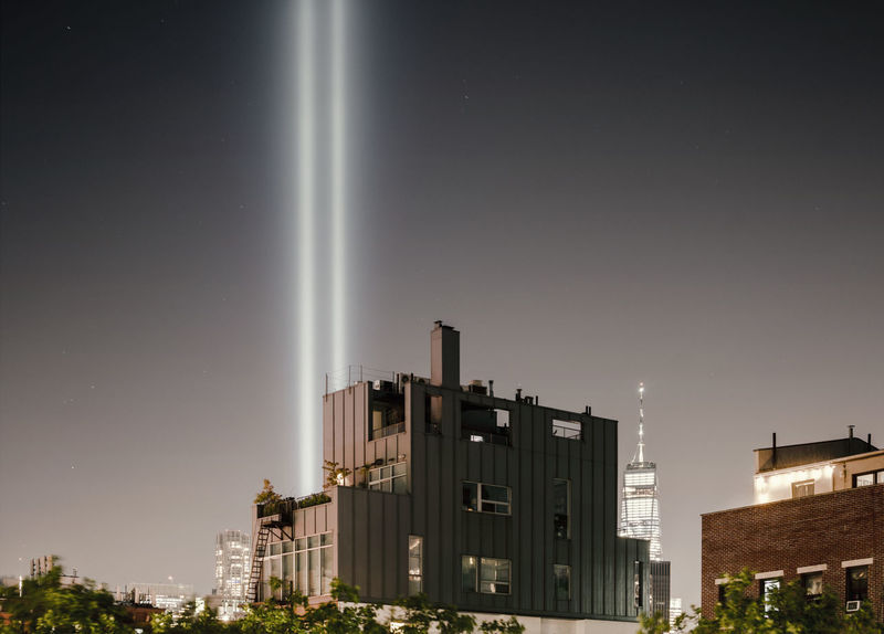 Tribute in Light, 2018 Memorial Tribute In Light WTC WTC Memorial Architecture Beauty In Nature Building Building Exterior Built Structure City City Life Cityscape Copy Space Illuminated Long Exposure Low Angle View Nature Night No People Office Building Exterior Outdoors Residential District Sky Skyscraper Twin Towers