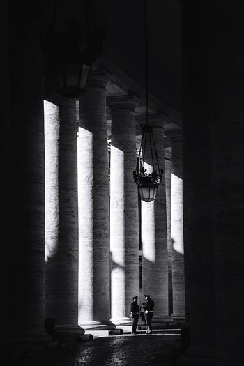 Blackandwhite Historical Building Light And Shadow Police Indoors  Architectural Column Built Structure Real People Architecture Men Day One Person Under People EyeEmNewHere