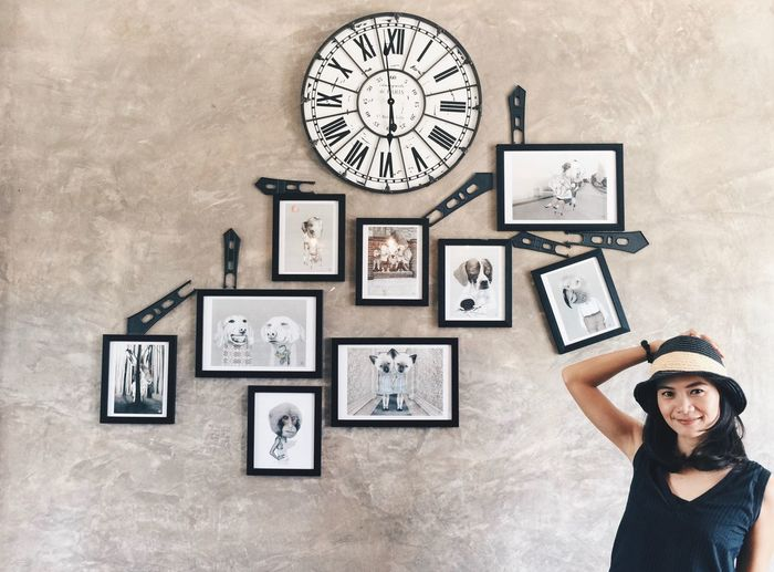 Picture Frame One Person Adult Portrait Adults Only Only Women Clock People Women Photograph Young Adult Looking At Camera Time One Young Woman Only Indoors  Clock Face Day Human Hand