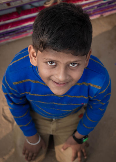 High angle portrait of smiling boy