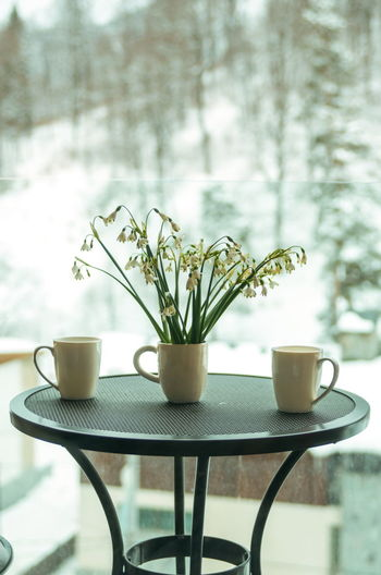 Coffee cup and potted plant on table