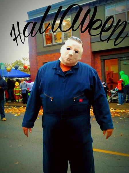 This guy does this every year. He walks up and down the street , dressed asMichael Meyers ,not saying a word to anyone the entire time he just skowly walks around. He will walk up behind people ans just wait for them no notice him as the come out of their skin!!! Hes very good. I got several good shots from him, but the tilted head look is the scariest, and there for THE BEST!!! Happy Halloween everyone!!!Michael Myers Halloween He Cant Be Killed Portrait Looking At Camera One Man Only One Person Standing Adults Only Front View Men Adult Responsibility Architecture Maximum Closeness Eyeem Market Place I LOVE PHOTOGRAPHY Wicked Awesome Best Of The Best Fall Collection Telling Stories Differtenly The Week On EyeEem Its Halloween! Halloween EyeEm Essence Of Fall