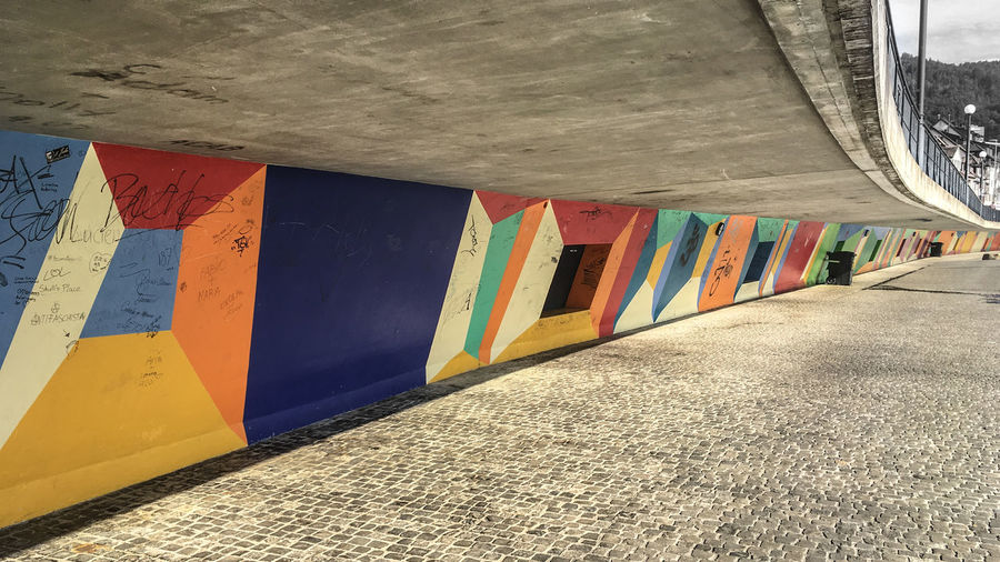 Close-up of colorful built structure