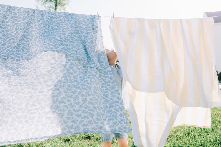 Clothes drying on clothesline