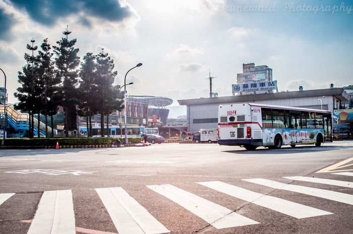 Street Scene in Keelung Taiwan Bus Bus Stop Zebra Crossing From The Ground Up Close To The Ground