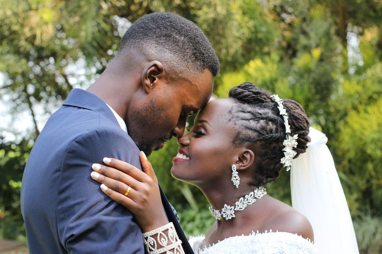 Side view of couple kissing
