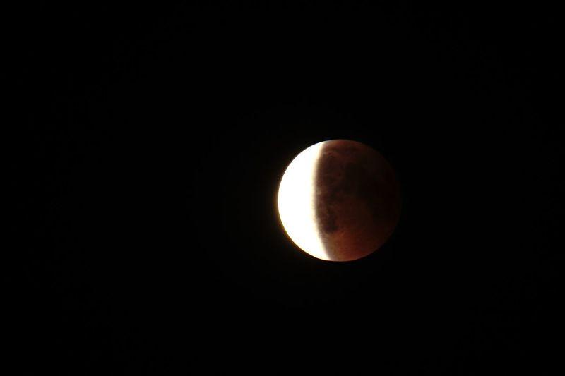 Mondfinsternis 2018 Mondfinsternis Moon Moonlight Lunar Eclipse Crescent Copy Space Sky