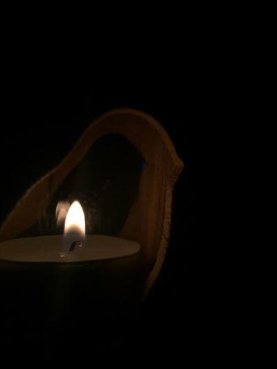 Flame Candle Burning Black Background Heat - Temperature ProCamera. Iphone6+ Darkroom Close-up No People Tea Light Indoors  Night