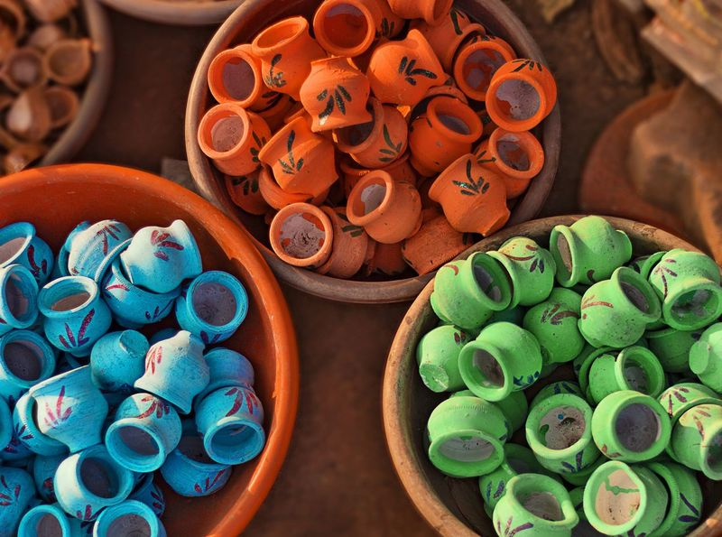 Indian Art EyeEm EyeEm Best Shots EyeEmNewHere India Cultures Art Pottery Pottery Art Colors Colorful Blue Orange Color Green Color