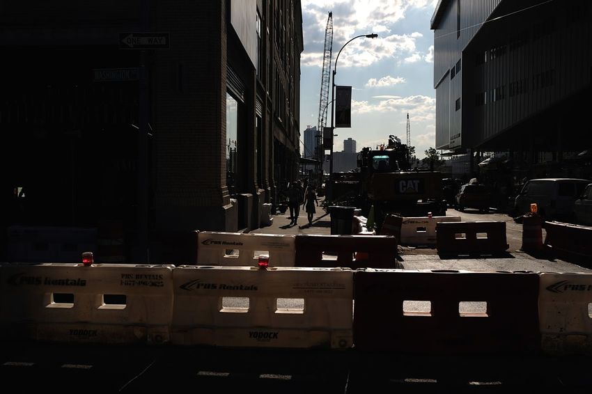 Barriers Silhouette Day Outdoors Sky City Built Structure Building Exterior Architecture New York City Construction Sunlight Light And Shadow Photographyisthemuse Street Photography Cityscape