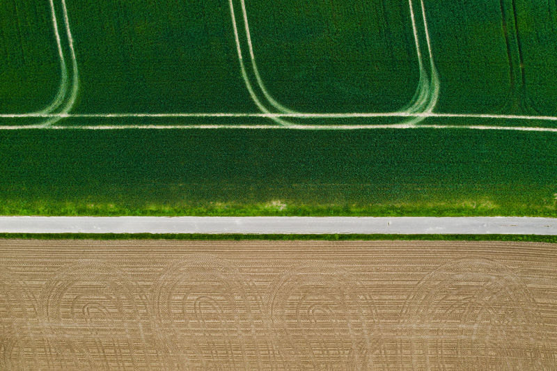 Sport Plant Grass Green Color Nature Backgrounds No People Outdoors Full Frame Playing Field Empty Day Agriculture Field Stadium Aerial View Copy Space Land Absence Striped