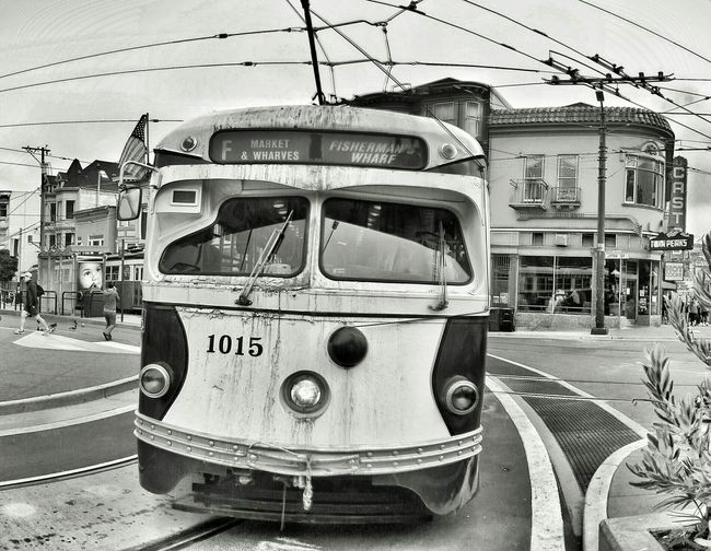 1015... @munidiaries @sfmta_muni @MUNI MUNI Streetcar Tram Trolley The Castro F Line San Francisco Snapseed Monochrome Bw
