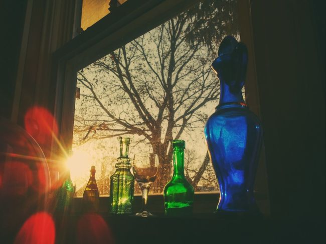 My kitchen window! The sun was shining through these jars creating beautiful blue and green lights all over my kitchen!! Indoors  No People Illuminated Tree Pretty♡ Picturejunkie Check This Out Window View Old Jars Window Sill Sunrise