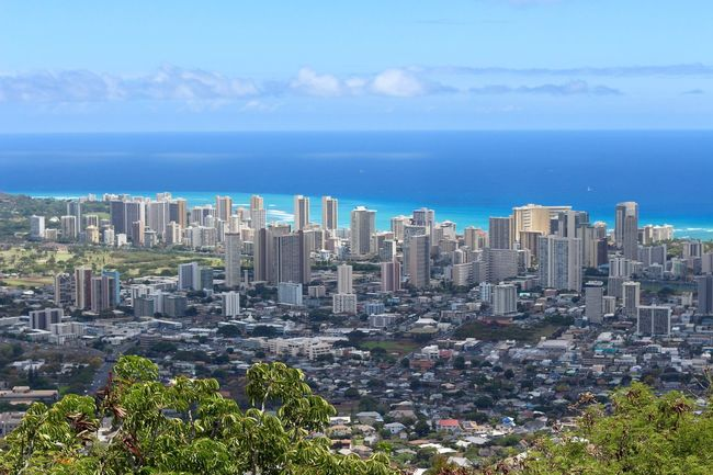 Neighborhood Map The beautiful city of Waikiki. Honolulu, Hawaii Cityscape Architecture City Outdoors Day Blue Sky Nature Water Ocean