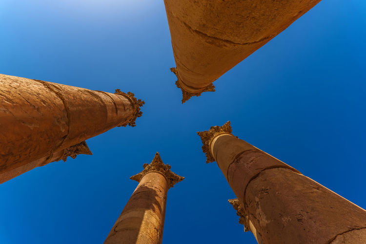 View of columns Ancient Greek Artemis Blue Sky Column Low Angle View Middle East Pillars Ruins Sky Temple The Architect - 2016 EyeEm Awards