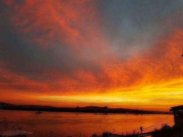 No Effect No Filter Horizon Over Water Sunset Danube Romania Fire Sky
