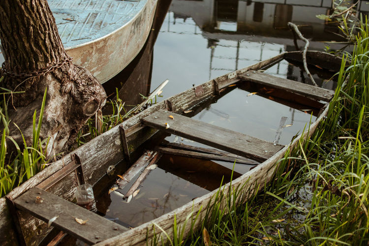 City Cityscape Abandoned Boat Lake Mode Of Transportation Nature Nautical Vessel Old Outdoors Rowboat Street Transportation Travel Water Wood Wood - Material Autumn Mood