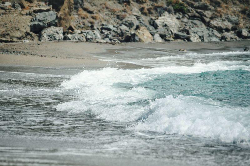 Sea Waves Reaching Towards Shore