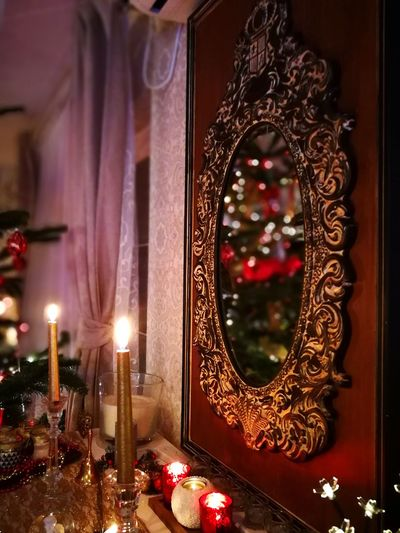 Mirror Mirror Reflection Christmas Tree Candle Burning Candles Decoration Indoors  Celebration Christmas Decoration Candle Curtain Christmas Home Interior Burning Holiday - Event