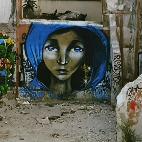 Street art Outdoors Portrait Blue Mural Paintings Streetphotography Street Art Montmartre