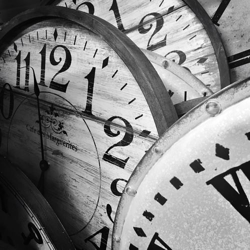 Time Clocks Waiting Time Does Not Wait Retro Black And White