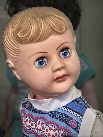 Vintage Doll. Doll Vintage Style Baby Babyhood Blond Hair Blue Eyes Child Childhood Close-up Cute Eye Front View Headshot Indoors  Innocence Looking At Camera One Person Portrait Real People