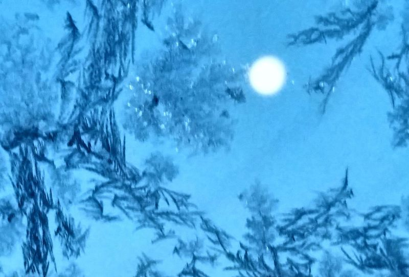 Moon, early January 28, 2016 as seen through frosted glass. Virginia Icecrystals Frostonglass Frosty Pattern Frosty Window Frost Crystals Frosty Morning Frost Ice Cold Winter ❄⛄ Cold Days Cold Outside Cold Night Cold Morning Cold And Frosty Glass Windows The Culture Of The Holidays Macro Maximum Closeness
