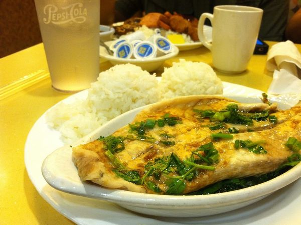 Dinner *_____* fish bass w/ rice