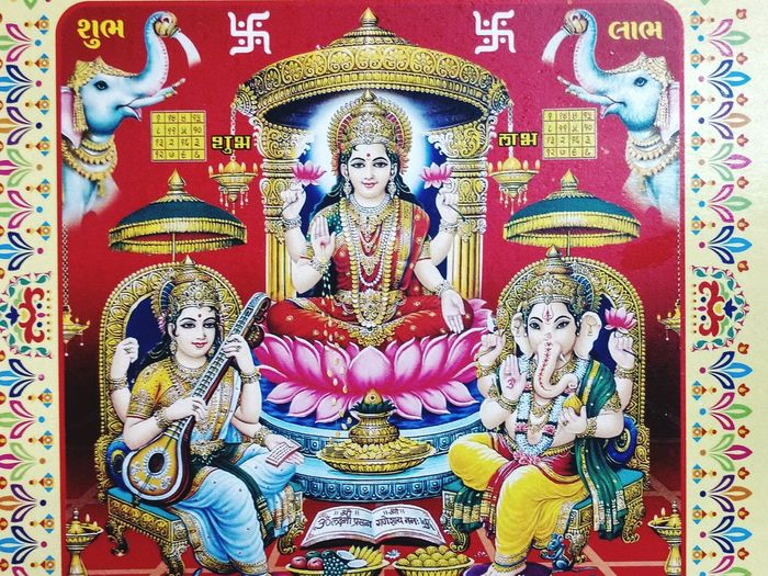 First photo for GOD Religion No People Indoors  Close-up Icon Day Laxmi Ganesha Sarswati Lakskmipooja First Eyeem Photo