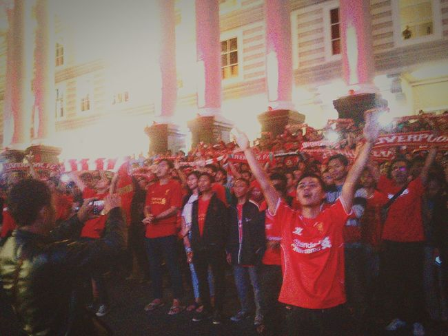 YNWA Liverpoolfc Liverpool Kopites Liverpudlian Thekops Large Group Of People Real People Red Outdoors Day Architecture People