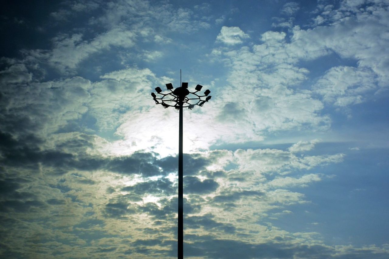 low angle view, cloud - sky, sky, day, no people, outdoors, nature, silhouette, electricity, technology