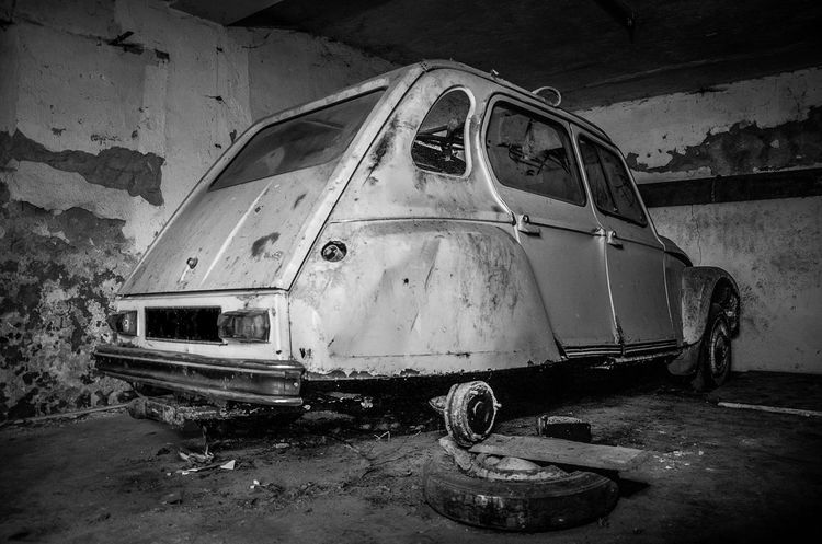 Car Abandoned Urbex Beauty Of Decay Blackandwhite Black And White 2cv Streetphotography
