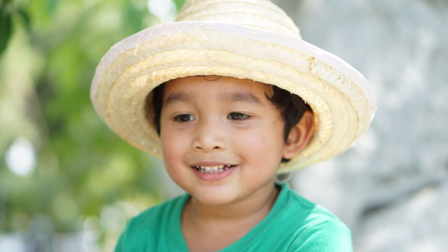 Close-up portrait of smiling boy