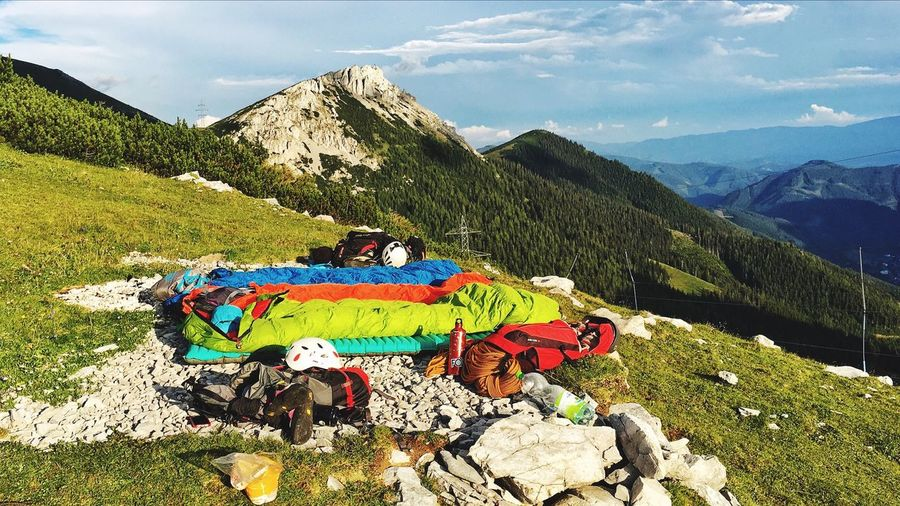 Best sleeping is under stars. Multi Colored Mountain Sky Beauty In Nature Nature Sunlight Scenics Outdoors Real People Cloud - Sky Day Landscape Thermarest THE NORTH FACE Treksport Salewa