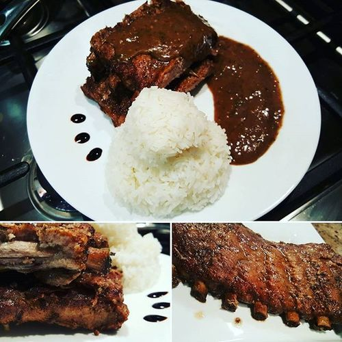 ♤Juicy ribs glazed with red wine meat sauce and steamed white rice♤ Glazed Ribs Rice Supper Bossmeal Plate Homestyle Homemade Calinary