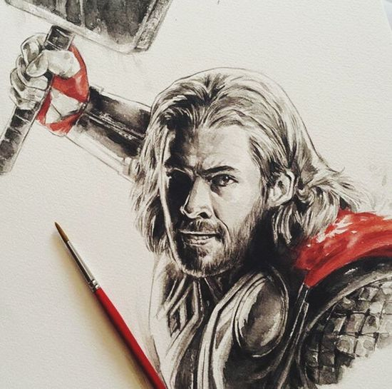 I just sketch!! Good? Chris Hemsworth Mighty Thor... Sketch