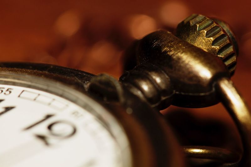 Close-up of stopwatch on table