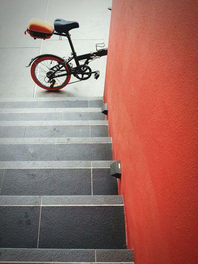 Bicycle on sidewalk in city