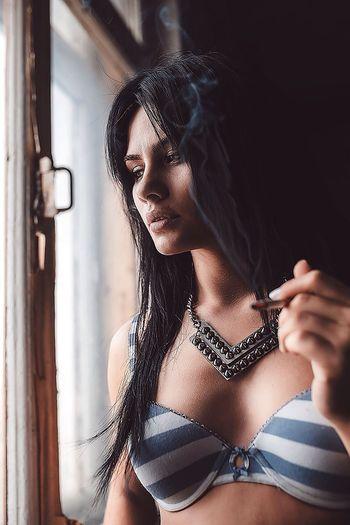Portrait Color Portrait Girl Studio DmitryBarykin Smoke Smoking