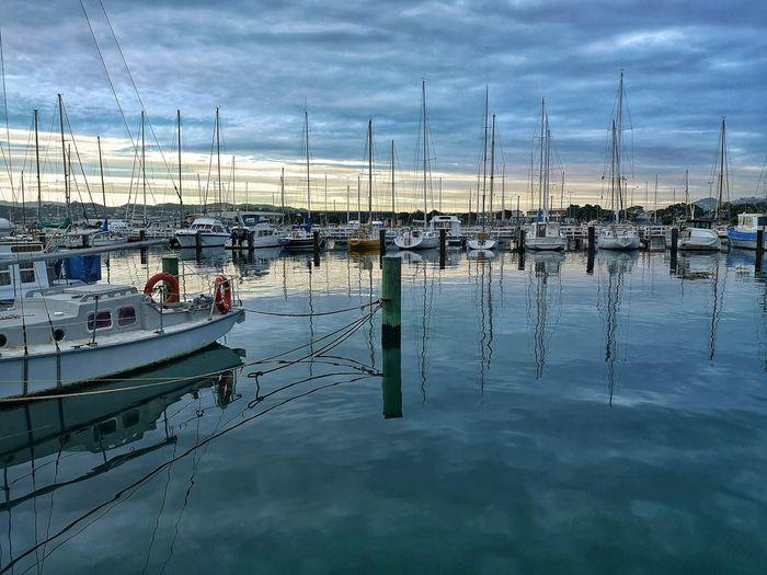 marina Water Reflection Sky Cloud - Sky Boat Nautical Vessel Harbor Sailboat Dock Port Mast