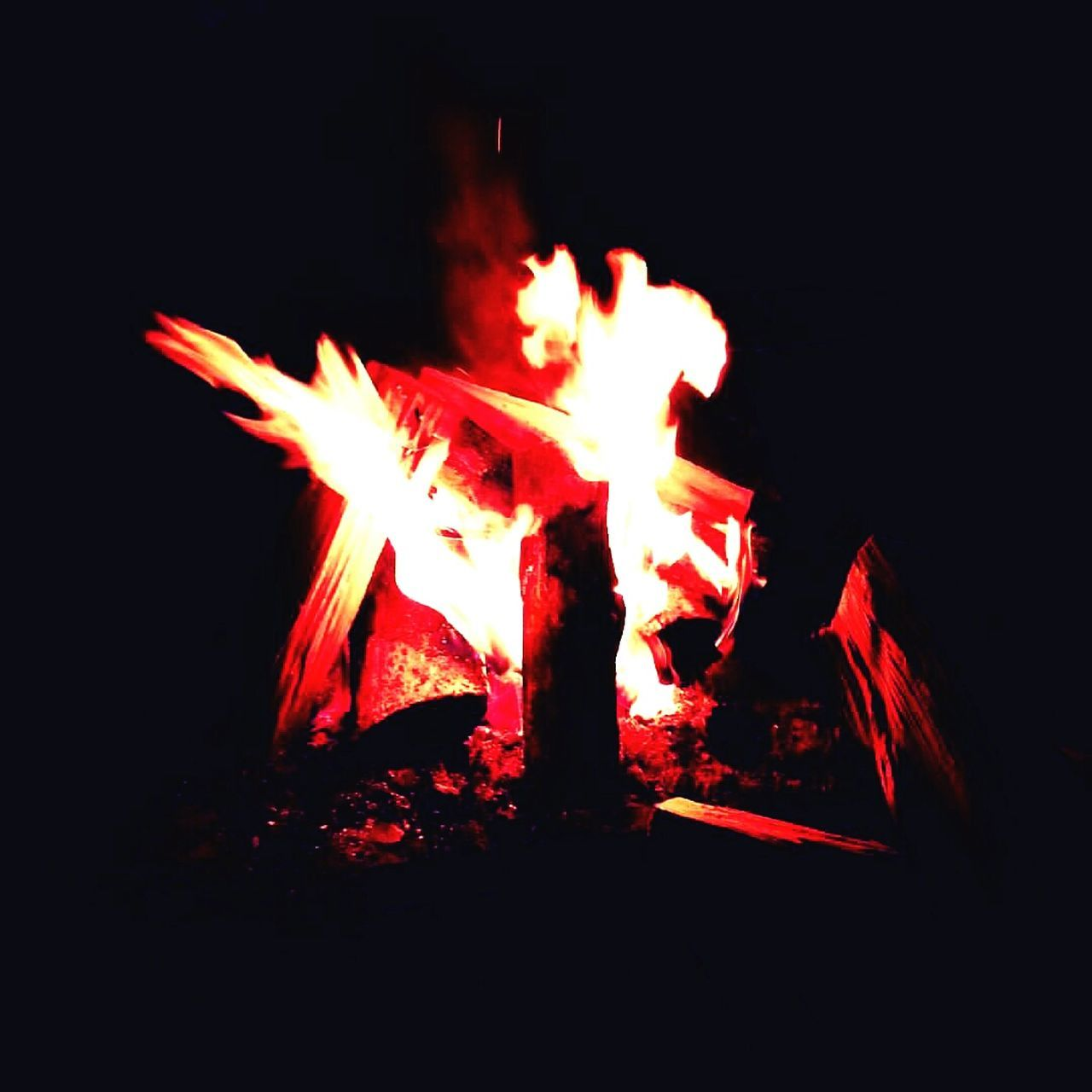 fire - natural phenomenon, burning, flame, heat - temperature, night, glowing, no people, bonfire, outdoors, close-up