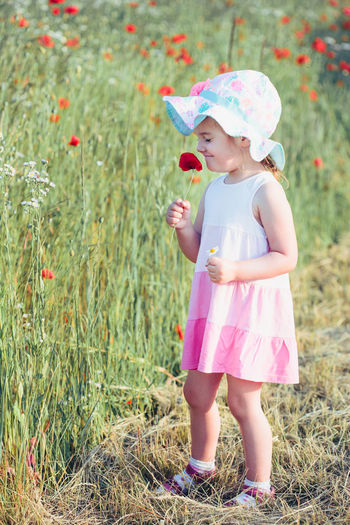Lovely little girl in the field of wild flowers. Cute girl picking the spring flowers for her mom for Mother's Day in the meadow. Spending time close to nature Girl Child Kid Field Nature Meadow Spring Summer Wild Flowers Poppy Cute Little Blooming Bouquet Happy Garden person Lovely Female Green Real Natural Dress Hat