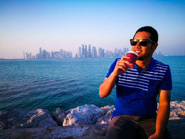 A cup of tea with nice view... Acupoftea City Doha,Qatar Nice View Seaside