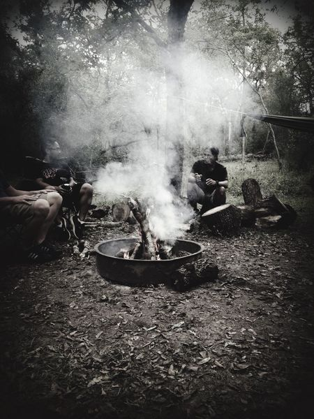 Campinglife Camp Fire Outdoor Life Black And White Smokey