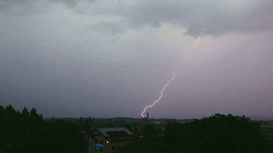 Panoramic view of lightning over trees against storm clouds