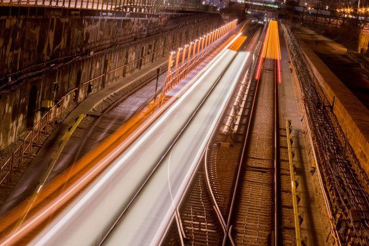 Transportation Speed Mode Of Transport Outdoors No People Motion Rail Railing Track Night Metro Train Train Tracks EyeEm New Here Brunomphotography