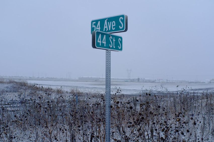 January 30, 2016 / South Fargo, North Dakota Day Fall Fargo Nature Nature No People Outdoors Road Sign Sea Sky Snow South Fargo Text Water Winter