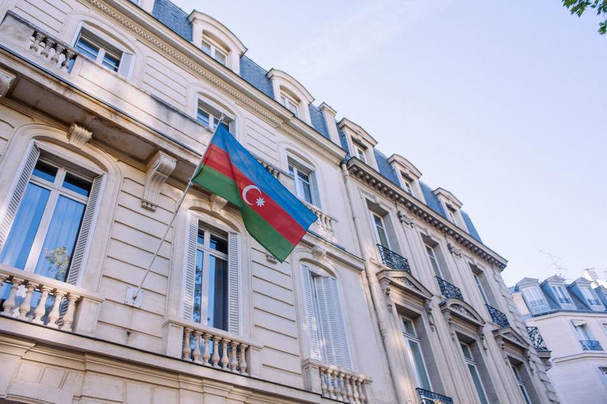 Azerbaijan Flag Architecture Azerbaijan Blue Sky Building Clear Sky Country Flag Goverment  Hanging Political